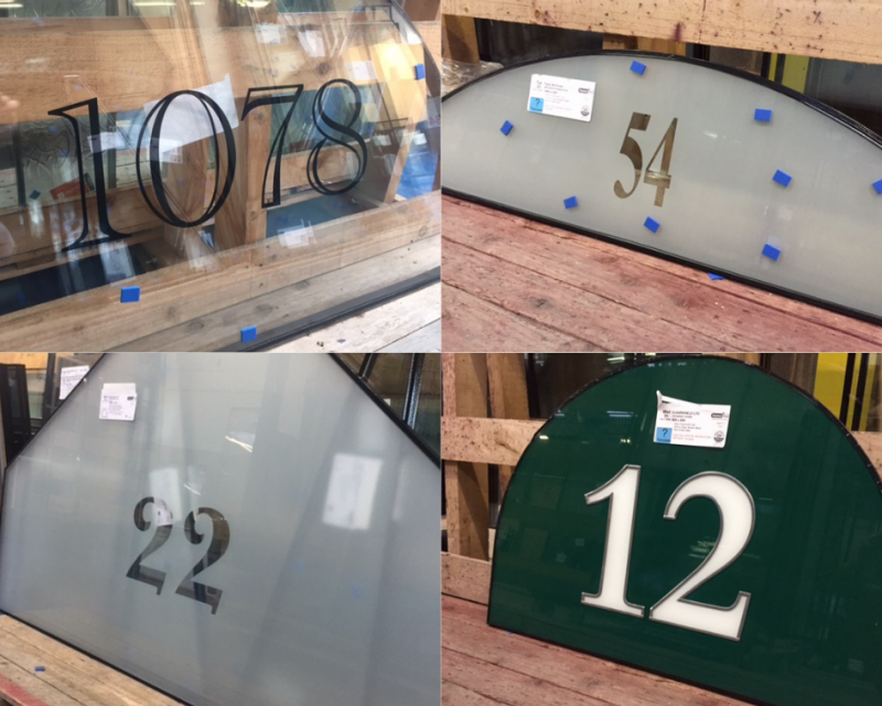 decorative glass numeral designs by Frame Fast